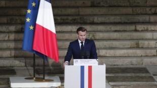 Le président français Emmanuel Macron lors de l'hommage national à Samuel Paty, à la Sorbonne le 21 octobre 2020.