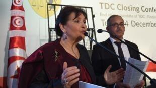 La présidente de l'Instance « Vérité et Dignité », Sihem Ben Sedrine à Tunis le 14 décembre 2018.