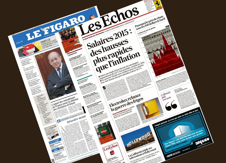 Capa dos jornais franceses Les Echos e Le Figaro desta terça-feira, 9 de setembro de 2014