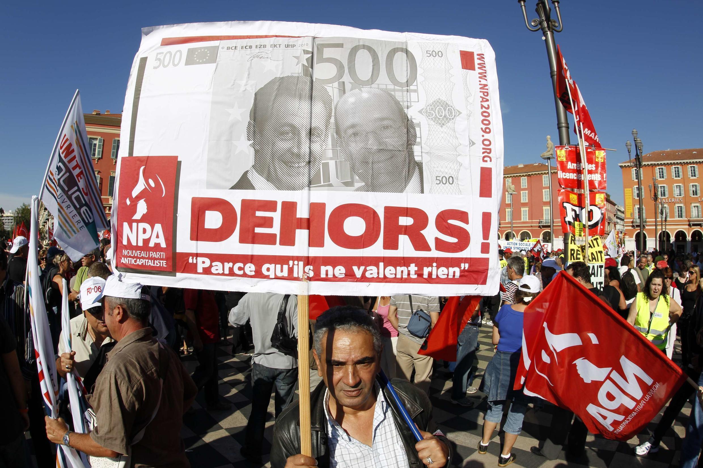 Manifestação contra a reforma da previdência proposta pelo governo de Nicolas Sarkozy. Aqui Nice.