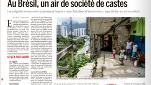"""Matéria publicada neste sábado (15) pelo jornal Le Monde com o título: """"O Brasil tem ares de uma sociedade de castas""""."""