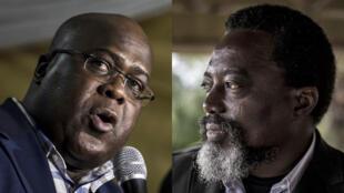 Le nouveau président de la République démocratique du Congo, Félix Tshisekedi (G) et son prédécesseur, Joseph Kabila.