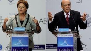 Los candidatos Dilma Rousseff y José Serra