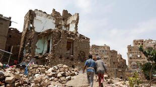 A devastated district in Yemen's capital, Sanaa, earlier this month
