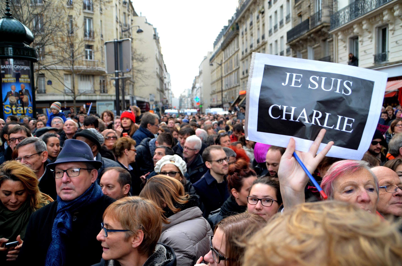 Rue de la Roquette (XIe arrondissement), ce 11 janvier 2015, à proximité du parcours officiel de la marche républicaine.