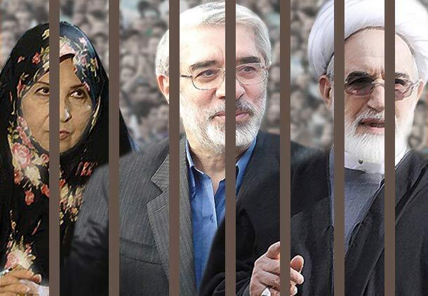 """عکس آرشیو"""" میرحسین موسوی، مهدی کروبی و زهرا رهنورد، همسر موسوی"""