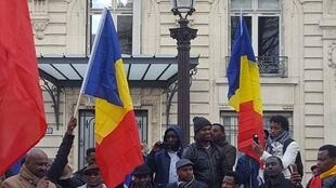Members of the Chadian diaspora in Paris demonstrated outside the National Assembly against French air strikes in Chad.