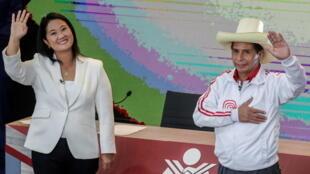 Les deux candidats Keiko Fujimori et Pedro Castillo lors du dernier débat de la campagne avant le scrutin du 6 juin.