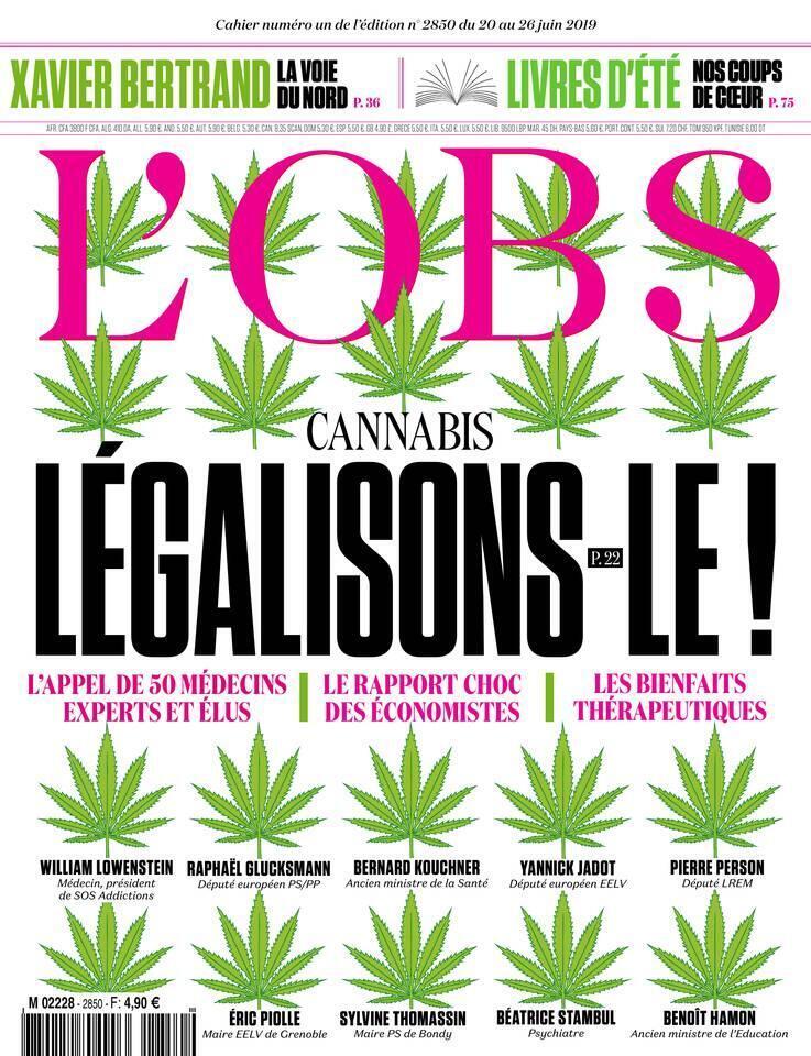 Revista francesa L'Obs apoia manifesto para legalização da maconha na França.