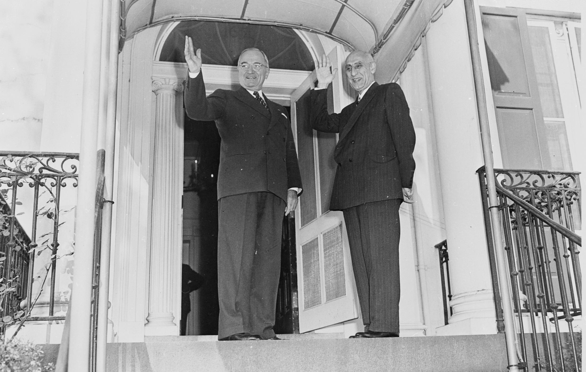 In better times: US President Harry Truman with Iranian Prime Minister Mohammad Mossadeh in 1951.