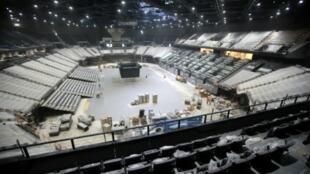 Vue générale intérieure du POPB, désormais AccorHotels Arena, le 12 octobre 2015 à Paris