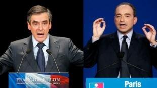 François Fillon (à esq.) e Jean-François Copé se anunciaram vitoriosos antes do fim da apuração dos votos para a presidência do principal partido de oposição.