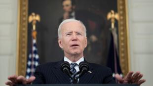 El presidente estadounidense Joe Biden habla desde la Casa Blanca el 22 de abril de 2021