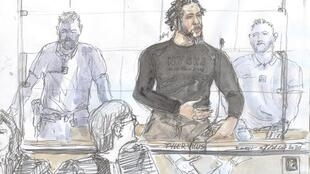 "A court sketch made on June 25, 2020 at the Paris courthouse shows French jihadist also called the Islamic State ""emir"" Tyler Vilus speaking during the opening of his trial on crimes committed in Syria between 2013 and 2015."