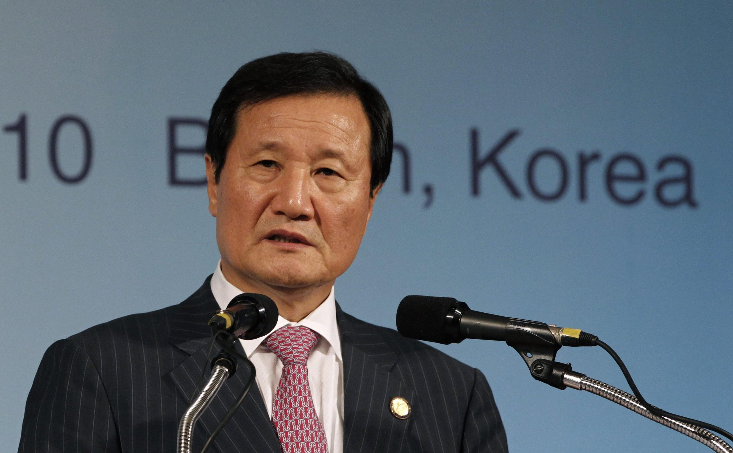 South Korea's Finance Minister Yoon speaks to the media in Busan