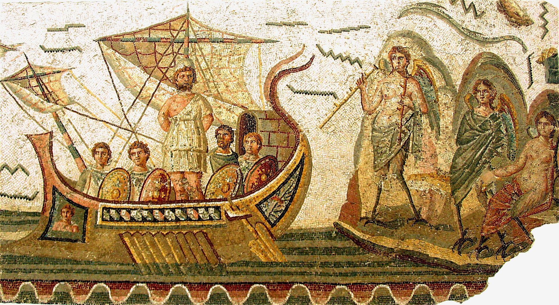 Одиссей и сирены, мозаика. 2 в. н.э.