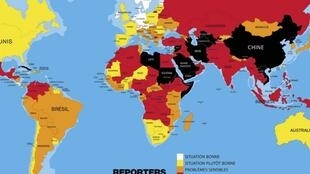 O mapa da liberdade de imprensa, divulgado nesta quarta-feira, 26 de abril de 2017, pela ONG Repórteres Sem Fronteiras.