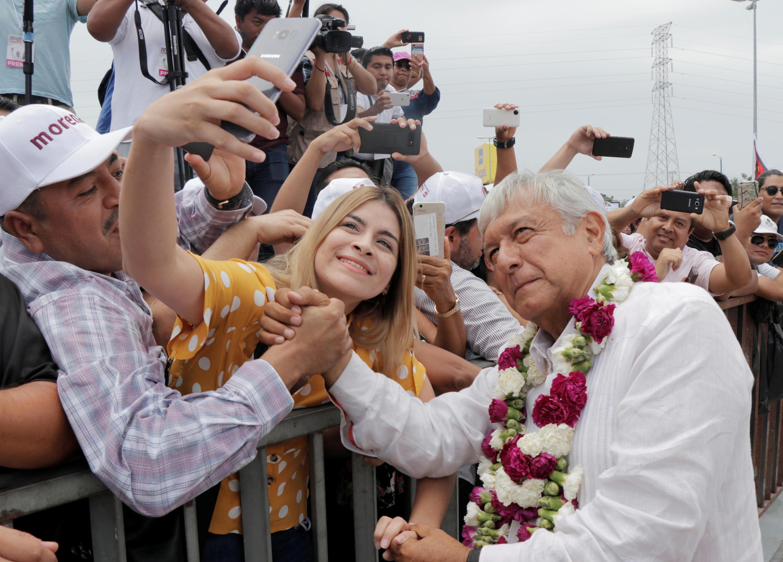 El candidato Andrés Manuel López Obrador, Cancún, 26 de junio de 2018.