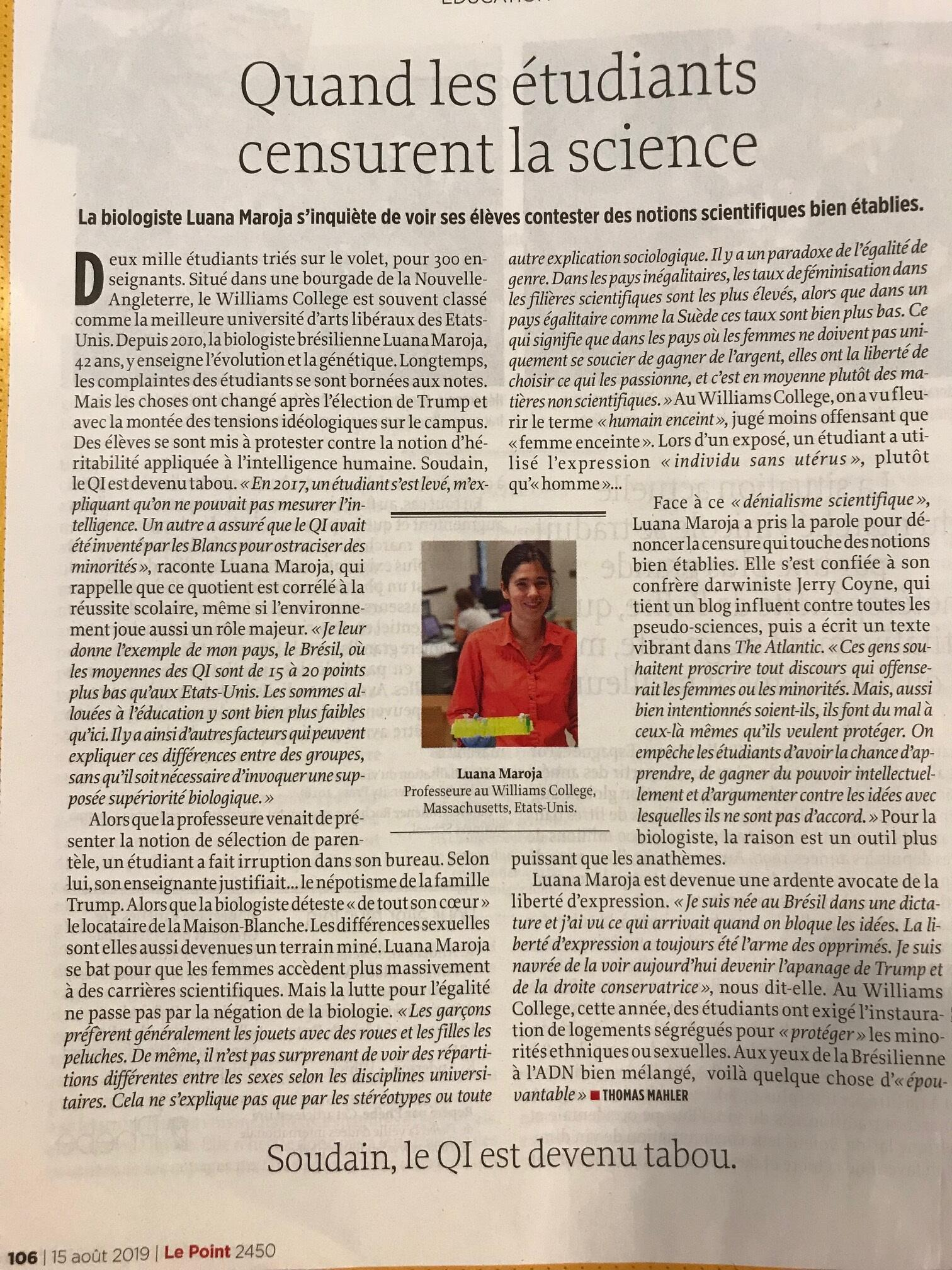 Página da revista Le Point sobre a bióloga brasileira Luana Maroja.