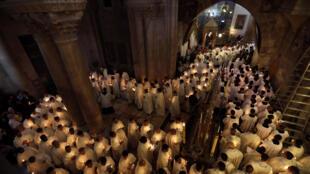 Misa de Jueves Santo en la Iglesia del Santo Sepulcro, Jerusalén 13 de abril de 2017.