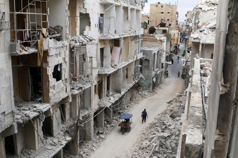 La Vieille ville d'Alep, ravagée par les bombardements, le 5 mai 2016.