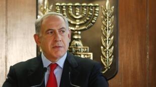 O premiê israelense Benjamin Netanyahu em uma entrevista em Israel.