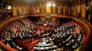 El senado italiano en la primera sesión desde la elección nacional el pasado 4 de marzo, en Roma, el 23 de marzo de 2018.