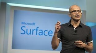Satya Nadella, le directeur de Microsoft lors d'une conférence à New York le 20 mai 2014.