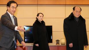 Kim Yo Jong, hermana del líder norcoreano Kim-Jong un en su visita a Corea del Sur.