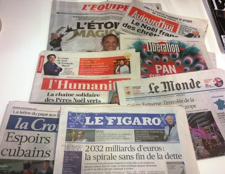 Primeiras páginas dos diários franceses 24/12/2014