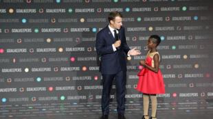 DJ Switch, une jeune ghanéenne de 10 ans et star des platines aux côtés du président français Emmanuel Macron, le 26 septembre 2018 à New York.