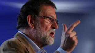 El presidente del gobierno español, Mariano Rajoy, el 12 de noviembre de 2017 durante un acto político en Barcelona.