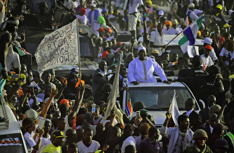Barrow leaves Banjul airport following his return from Senegal, 26 January 2016.