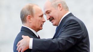 Le président biélorusse Alexandre Lukachenko saluant le président russe Vladimir Poutine à Minsk le 10 octobre 2014.