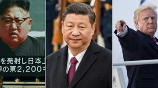 Fotomontagem com os líderes, Kim Jong-Un, Xi Jinping, Donald Trump