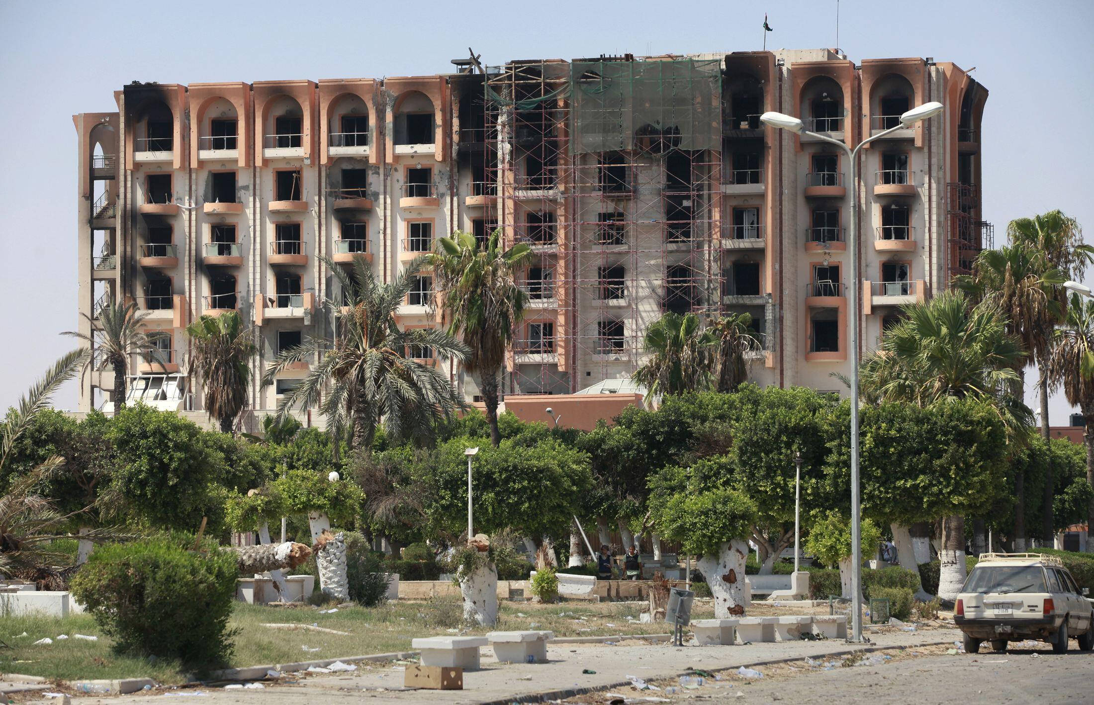 Отель во взятом повстанцами городе эз-Завия