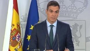 O presidente do governo espanhol, Pedro Sánchez, em declaração televisiva sobre a Venezuela nests sábado, 26 de janeiro de 2019.
