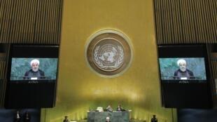 سخنرانی حسن روحانی، رئیس جمهوری اسلامی ایران در هفتادوچهارمین نشست مجمع عمومی سازمان ملل در نیویورک. چهارشنبه ۳ مهر/ ٢۵ سپتامبر ٢٠۱٩