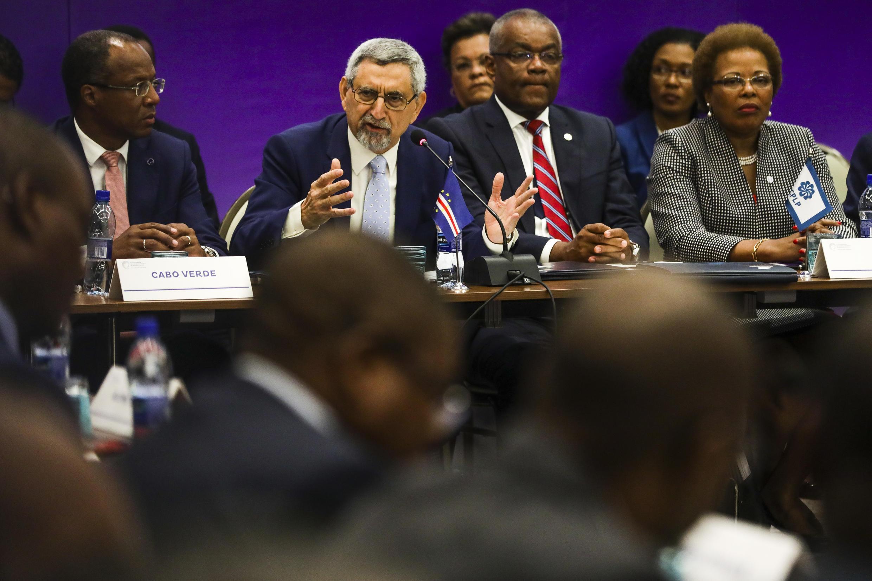 O Presidente da República de Cabo Verde, Jorge Carlos Fonseca, discursa durante a sessão plenária da Cimeira da CPLP