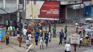 Manifestation contre l'adoption d'une nouvelle loi électorale, à Kinshasa, RDC, le 19 janvier 2015.