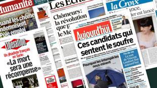 Capa dos jornais Libération, Aujourd'hui en France, La Croix, Les Echos e L'Humanité desta quinta-feira , 13 de Fevereiro de 2014.
