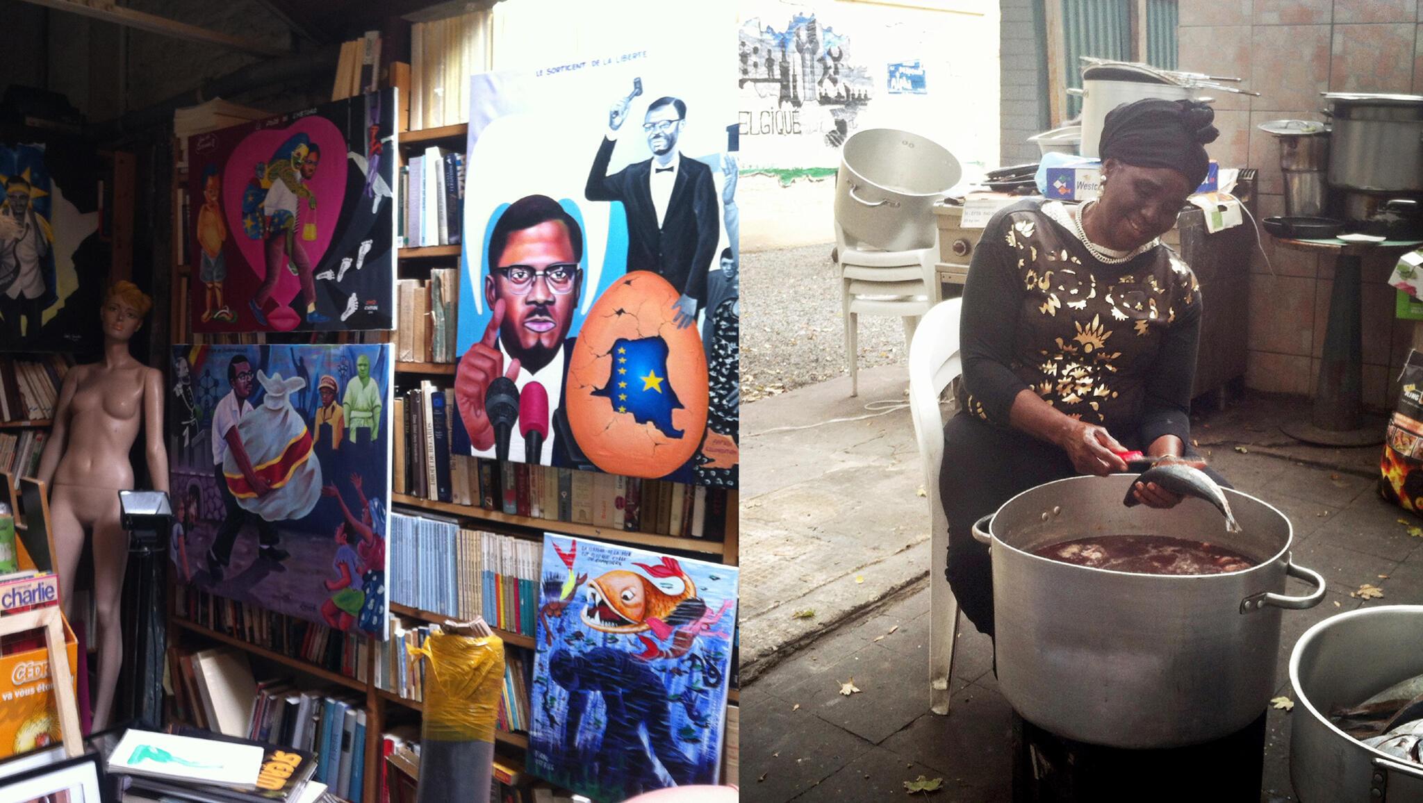 De la « Bibliothèque Lumumba » (à gauche) aux arrière-cours de restaurants africains (à droite), le quartier Matonge de Bruxelles a des airs vraiment kinois.