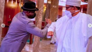 Shugaban Najeriya Muhammadu Buhari tare da tsohon shugaban kasar Goodluck Jonathan dake zama babban Jakadan kungiyar ECOWAS a kokarin sasanta rikicin siyasar kasar Mali.