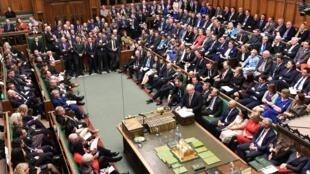 Boris Johnson em debate na Câmara dos Comuns, em Londres, em 19 de dezembro de 2019.