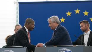 O chefe de Estado de Angola, João Lourenço, recebido pelo presidente do Parlamento Europeu, Antonio Tajani, 4/7/2018