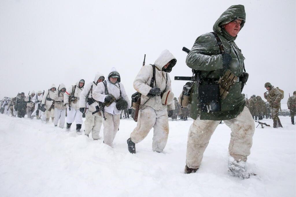 Des soldats de l'Armée russe lors de la reconstitution d'une bataille de la Seconde Guerre mondiale. Région de Moscou, février 2018 (Photo d'illustration).