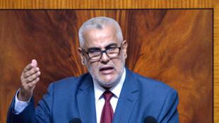 Le chef du gouvernement marocain et secrétaire général du PJD, Abdelilah Benkirane, au Parlement à Rabat, le 9 juillet 2014.