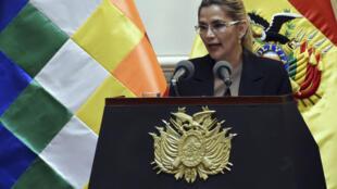 A presidente Jeanine Anez,  28 de Janeiro de 2020