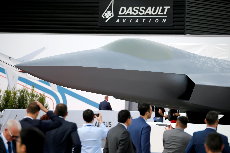 El avión de combate del futuro, este 17 de junio de 2019 en el Salón de la Aeronáutica de Le Bourget, cerca de París.