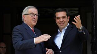 Jean-Claude Juncker, le président de la Commission européenne et Alexis Tsipras, le Premier ministre grec, à Athènes, ce mardi 21 juin 2016.